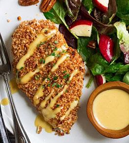 Honey Mustard Pecan Crusted Chicken